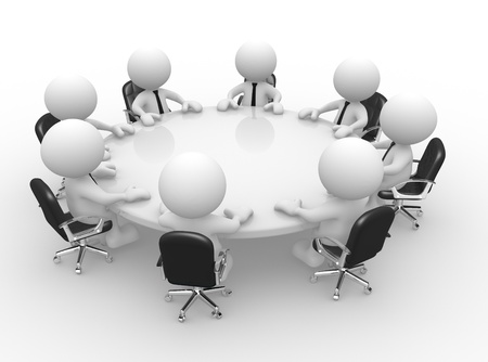 round chairs: 3d people - men, person at conference table. Business meeting