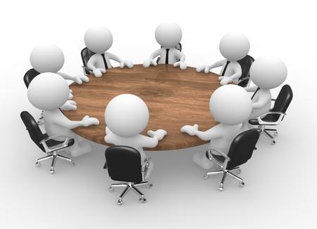marioneta de madera: 3d personas - hombres, persona en la mesa de conferencias. Reunión de negocios Foto de archivo