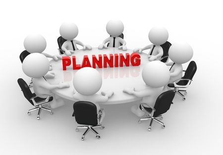 3d people - men, person at conference table. Business meeting and planning. Stock Photo - 15298018