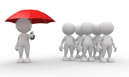 unprotected: 3d people - men, person with a umbrella - discrimination