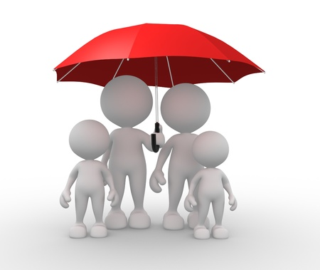 child safety: 3d people - men, person with a umbrella. The a family. Stock Photo