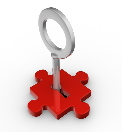 clue: Jigsaw puzzle piece with key. 3d render  Stock Photo