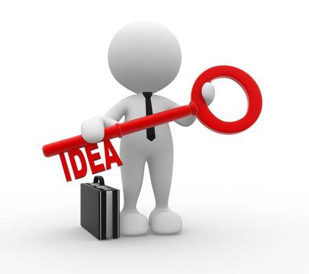 """marioneta: 3d gente - hombre, persona con una llave y la palabra """"idea"""". Hombre de negocios"""