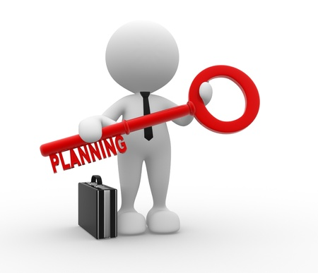 key words art: 3d people - man, person with a key and word planning. Businessman