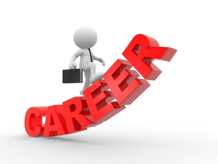 first job:  3d people - man, person climbing on the word career.