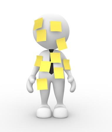 schedules: 3d gente - hombre, persona con un papel amarillo. Multitarea. Post-it. Foto de archivo