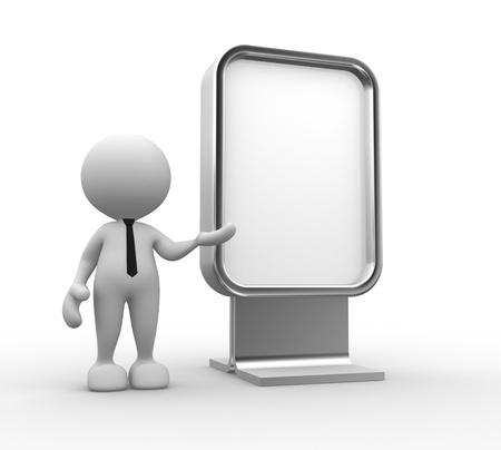 advertising board: 3d people - man, person with blank advertising billboard.