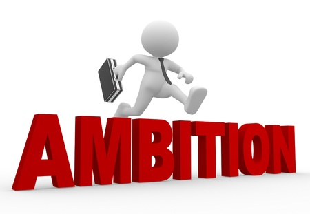 ambition: 3d people - man, person and word ambition. Stock Photo