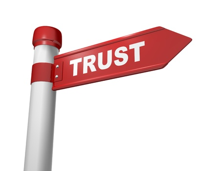 trust people: 3d road sign and word trust Stock Photo