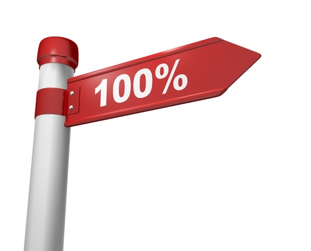 product signal: Stylized road sign with a percents symbol - 100%. 3d render  Stock Photo