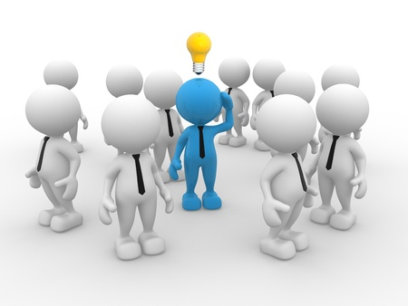 intelligent partnership: 3d people - man, person with idea light bulb above their heads Stock Photo