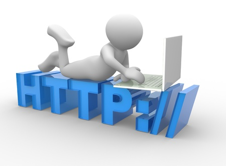 webhosting: 3d people - man, person sitting on HTTP sign with a laptop. Concept of communication Stock Photo