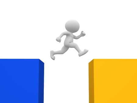 3d people - man, person jumping over cubes photo