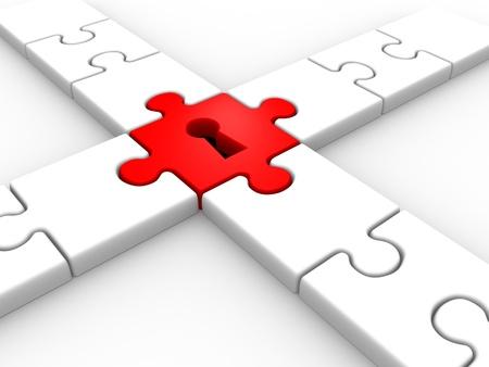 Puzzle mit Schlüsselloch. 3d render