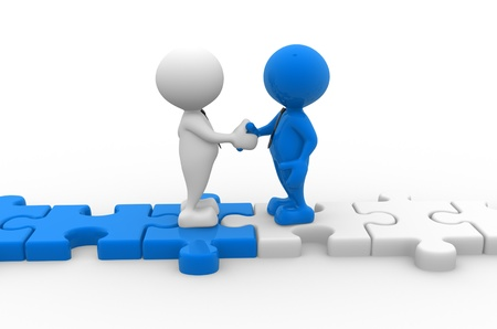 the settlement: 3d people - men, person shaking hands on puzzle pieces. The concept of business partners