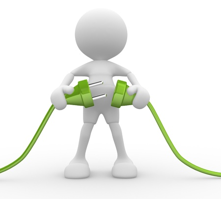 3d people - man, person connected two cables Stock Photo - 15298137