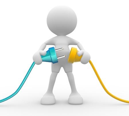 3d lidí - člověk, člověk připojit dva kabely Reklamní fotografie