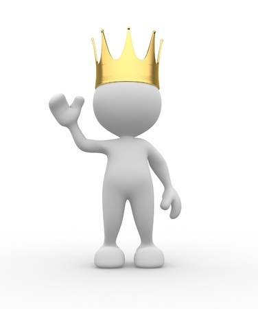 king crown: 3d people - man, person with a golden crown. King