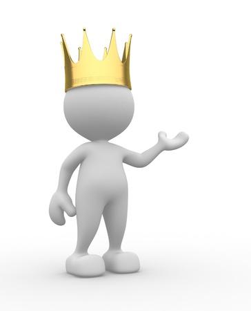 prince: 3d personnes - homme, personne avec une couronne d'or. Roi Banque d'images