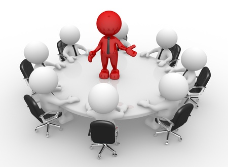 leiderschap: 3d mensen - mannen, persoon aan vergadertafel. Leiderschap en team