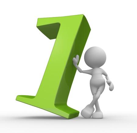 numero uno: Persone 3d - uomo, persona con il numero uno.
