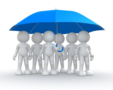 life protection: 3d people - men, person under an umbrella.  Stock Photo