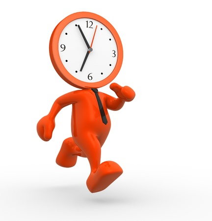 man working out: 3d people - man, person running out of time. A clock