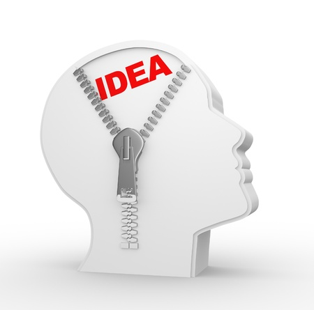 open mind: 3d human head and a open zipper with idea. Concept of intelligence