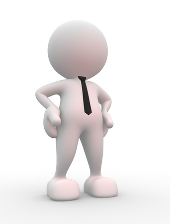 man standing alone: 3d people - man, person - Proud hopeful. Businessman