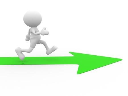 3d people - man, person running the arrow. Success Stock Photo - 15298143
