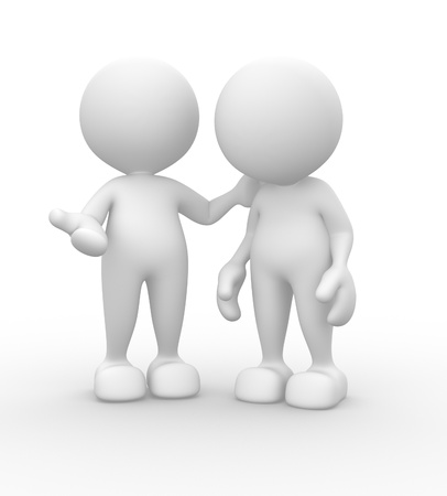 3d people - men, person talking. Concept of dialogue, communication  photo