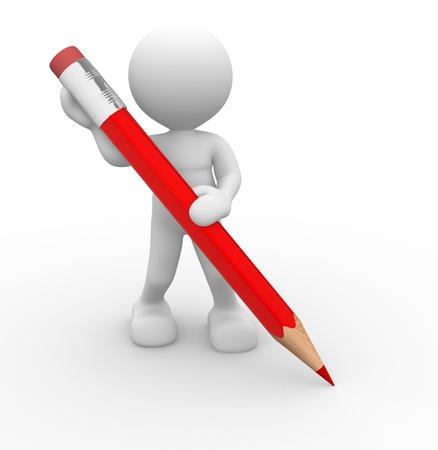 bleistift: 3d Menschen - ein Mann, Person mit einem gro�en Bleistift