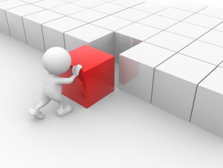 3d mensen - man, persoon duwt een kubus Stockfoto