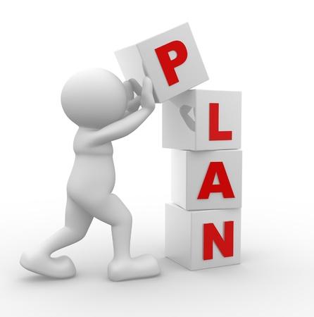 """plan van aanpak: 3d mensen - man, persoon en een kubussen met woord """"plan""""."""