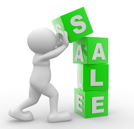 3d people - man , person and a cubes with word Sale. Business discount  photo