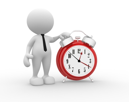 clockface: 3d people - man, person with a alarm clock.
