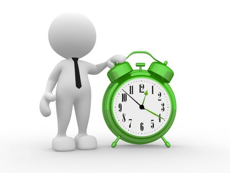 3d people - man, person with a alarm clock. Stock Photo - 15298163