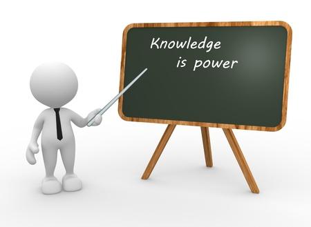 """knowledge: 3d Menschen - ein Mann, Person, R�ckwand mit den Worten """"Wissen ist Macht"""". Lizenzfreie Bilder"""