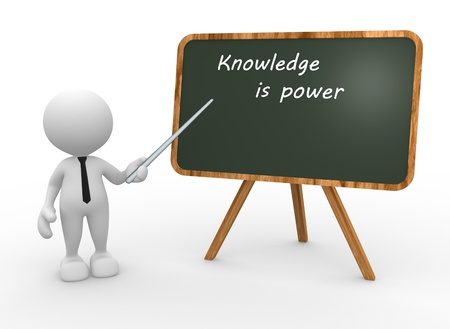knowledge is power: 3d people - man, person backboard with words knowledge is power.  Stock Photo