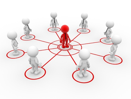 3d people - man, person arranged in a network. Teamwork and leadership photo