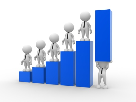 achieve goal: 3d people - man, person holding up a bar graph  Demonstrating success or achievement Stock Photo