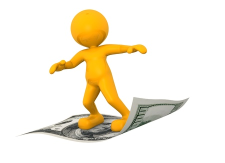 3d people - man, person flying on U S  dollars Stock Photo - 15328982