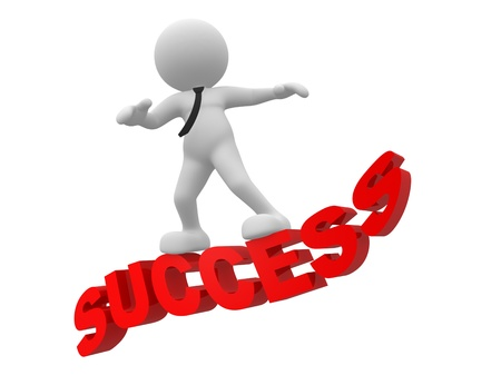 3d people - man, person flying on word success The concept of success