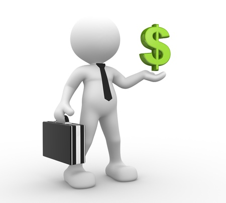 dollar sign icon: 3d people - man, person with dollar sign  Businessman