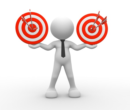 proud: 3d people - man, person with targets and arrows  Stock Photo