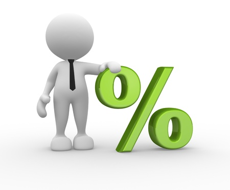 3d people - man, person with sign percent. %. The discount offer Stock Photo - 15519422