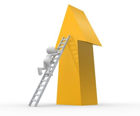 ladder of success: 3d people - man, person with ladder and arrow