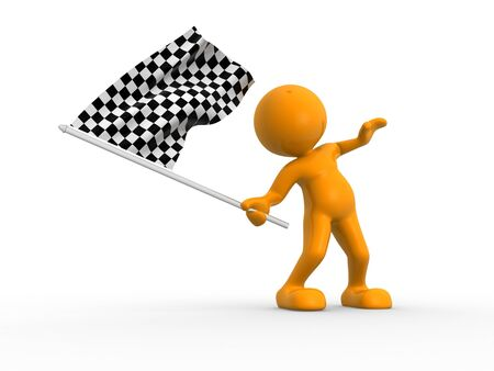 finishing line: 3d people - man, person waving a flag. Finish Stock Photo