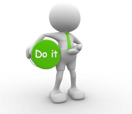 """communication �crite: 3d personnes - homme, personne et un bouton avec le mot """"faire"""" Banque d'images"""