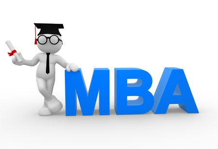 master degree: 3d people - man, person with a  diploma and MBA ( Master of Business Administration ) Stock Photo